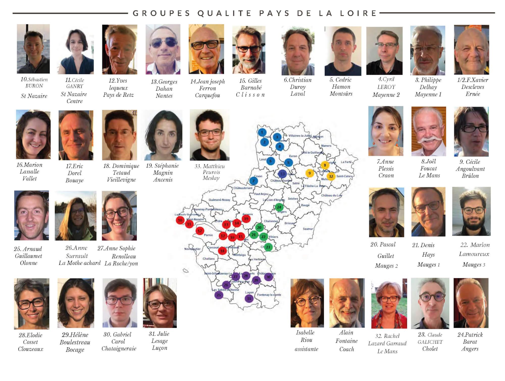 Carte des groupes qualité actifs en Pays de la Loire